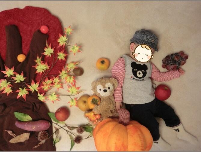家にある秋の食材たちを使って♪収穫&紅葉の秋寝相アート