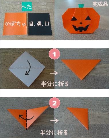 かぼちゃおばけ 作り方1~2