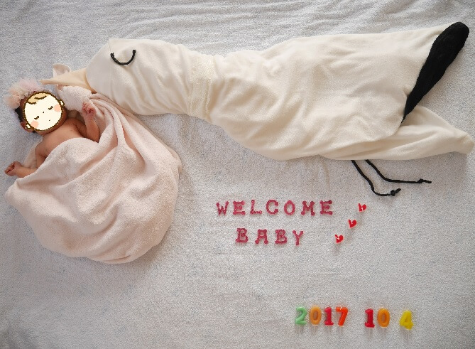 我が家に生まれてきてくれてありがとう♪新生児期の記念に♪コウノトリ寝相アート