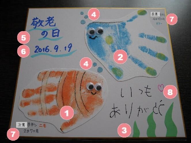 ニモ&ドリーひぃおばあちゃん用色紙 装飾手順