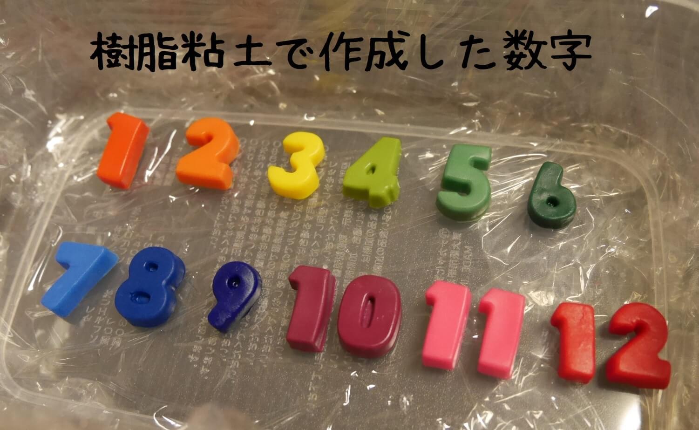 樹脂粘土で作成した数字